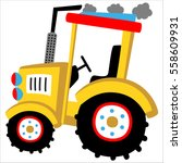 big yellow tractor vector... | Shutterstock .eps vector #558609931