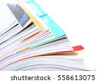 side view of stack magazine | Shutterstock . vector #558613075