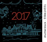 happy new 2017 greeting card... | Shutterstock .eps vector #558614551