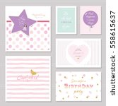 cute cards design with glitter... | Shutterstock .eps vector #558615637