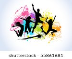 jumping people set against... | Shutterstock .eps vector #55861681