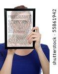 beautiful woman holding a... | Shutterstock . vector #55861942