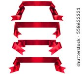 Small photo of Red banner ribbon set isolated on white background