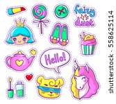 neon vector patch badges with... | Shutterstock .eps vector #558625114
