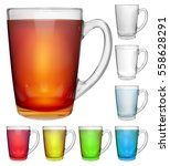 Set Of Opaque Glass Cups With...