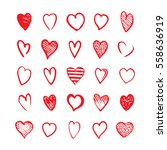heart icons hand drawn set in... | Shutterstock .eps vector #558636919