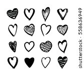 heart icons hand drawn set in... | Shutterstock .eps vector #558636949