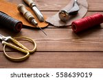 leather craft instruments on... | Shutterstock . vector #558639019