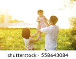portrait of lovely family... | Shutterstock . vector #558643084
