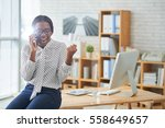 happy and excited african... | Shutterstock . vector #558649657