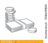 stack of coins and paper money... | Shutterstock .eps vector #558649804