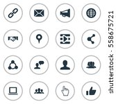 set of 16 simple internet icons.... | Shutterstock . vector #558675721