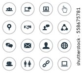 set of 16 simple internet icons.... | Shutterstock . vector #558675781