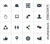 set of 16 simple social icons.... | Shutterstock . vector #558676975