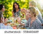 group of friends gathered... | Shutterstock . vector #558683689