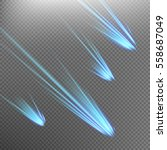 different meteors  comets and... | Shutterstock .eps vector #558687049