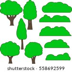trees and bushes in cartoon... | Shutterstock .eps vector #558692599