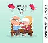 happy old couple.vector... | Shutterstock .eps vector #558699115