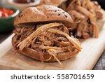 pulled pork meat sandwich in... | Shutterstock . vector #558701659