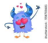 cartoon blue cool monster in... | Shutterstock .eps vector #558703681