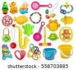 set of plastic toys buckets ... | Shutterstock . vector #558703885