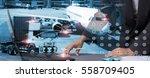 double exposure of success... | Shutterstock . vector #558709405