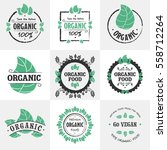 retro set of organic  bio ... | Shutterstock .eps vector #558712264