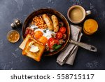 english breakfast in pan with... | Shutterstock . vector #558715117
