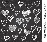hand drawn hearts set for... | Shutterstock .eps vector #558723547
