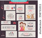 set of creative social media... | Shutterstock .eps vector #558731011