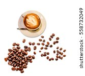 coffee cup and beans on a white ... | Shutterstock . vector #558732049