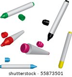 Five Colorful Vector Markers