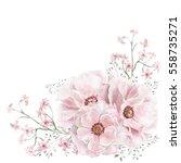 watercolor flowers. angular... | Shutterstock . vector #558735271