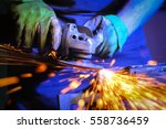 metal sawing close up | Shutterstock . vector #558736459