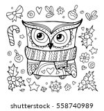 xmas owl. merry christmas. cute ... | Shutterstock .eps vector #558740989