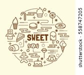 sweet minimal thin line icons... | Shutterstock .eps vector #558747205