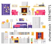 vector cozy interior set of... | Shutterstock .eps vector #558748771