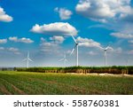 wind turbines  on a cloudy day  ... | Shutterstock . vector #558760381