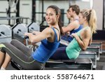 fit people on drawing machine... | Shutterstock . vector #558764671
