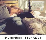 asian woman sleep on bed in the ... | Shutterstock . vector #558772885