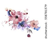 Stock photo cute watercolor hand painted flowers invitation wedding card birthday card 558781579