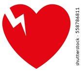 heart crack vector icon. flat... | Shutterstock .eps vector #558786811