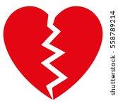 Broken Heart Vector Icon. Flat...