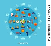 logistic flat round composition ... | Shutterstock .eps vector #558789331