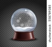 realistic colored snow globe... | Shutterstock .eps vector #558789385