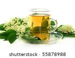 a cup of elderflower tea with