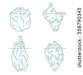 blue iceberg line style set... | Shutterstock .eps vector #558790345