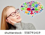 young woman with a lot of... | Shutterstock . vector #558791419