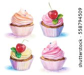 set of cakes | Shutterstock . vector #558794509