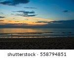 Sea Sunset On Twilight Sky.